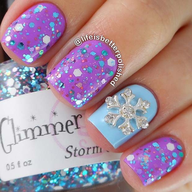 Bling Snowflake and Glitter Nails
