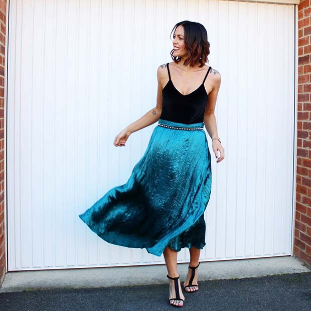 Bold Blue Midi Skirt Outfit
