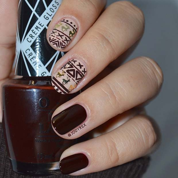 Burgundy Nails With Winter Pattern Accent Design