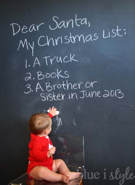 Chalkboard Christmas List Sibling Pregnancy Announcement