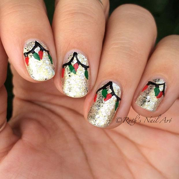 Christmas Lights Nails Pinterest: 29 Festive Christmas Nail Art Ideas