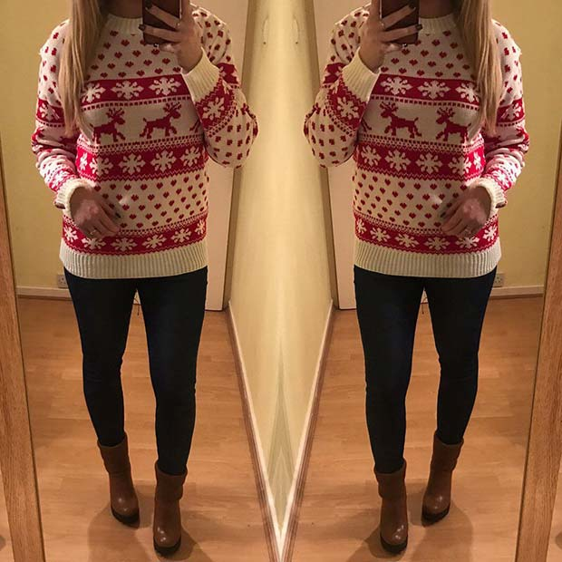 Christmas Sweater and Jeans - 21 Stylish Outfit Ideas For Christmas StayGlam