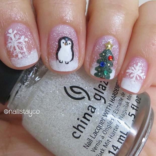 Christmas Tree Penguin and Snowflake Nail Art