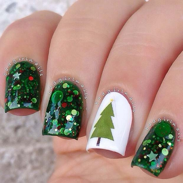 Christmas Tree and Glitter Nails