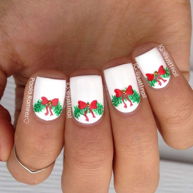 Christmas Wreath Nail Design