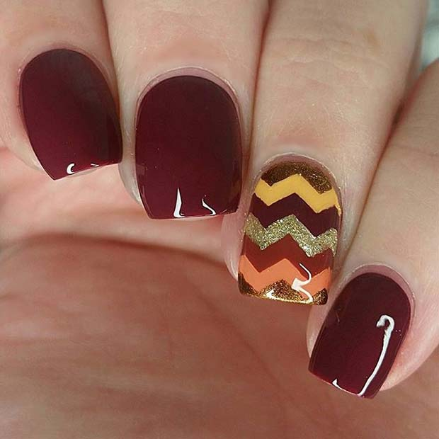 Cute Chevron Accent Nail Design