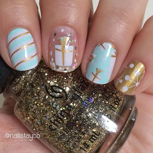 Cute Gift Nail Design