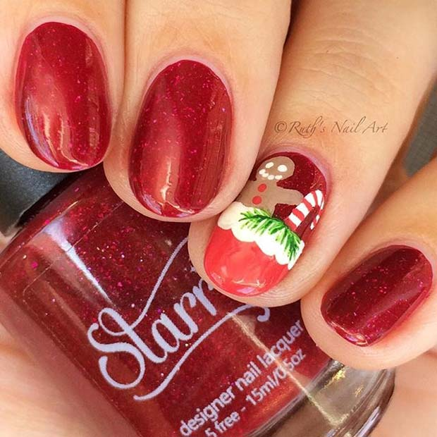 Cute Gingerbread Accent Nail Idea