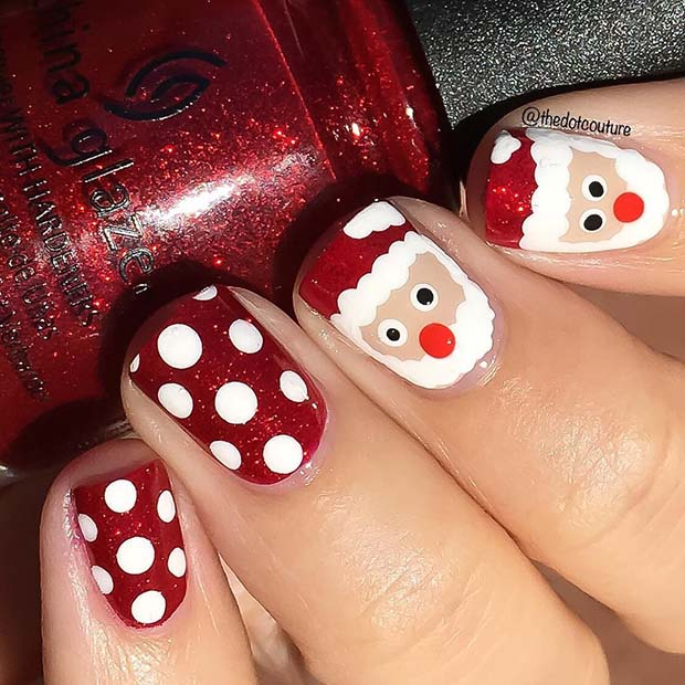 Cute Santa Nail Design for Short Nails