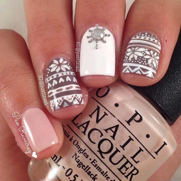 Cute Winter Pattern Nail Design