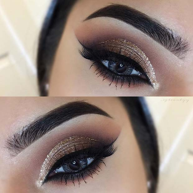 Brown and Gold Glitter Eye Look