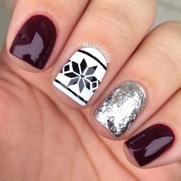 Fair Isle and Glitter Nail Design