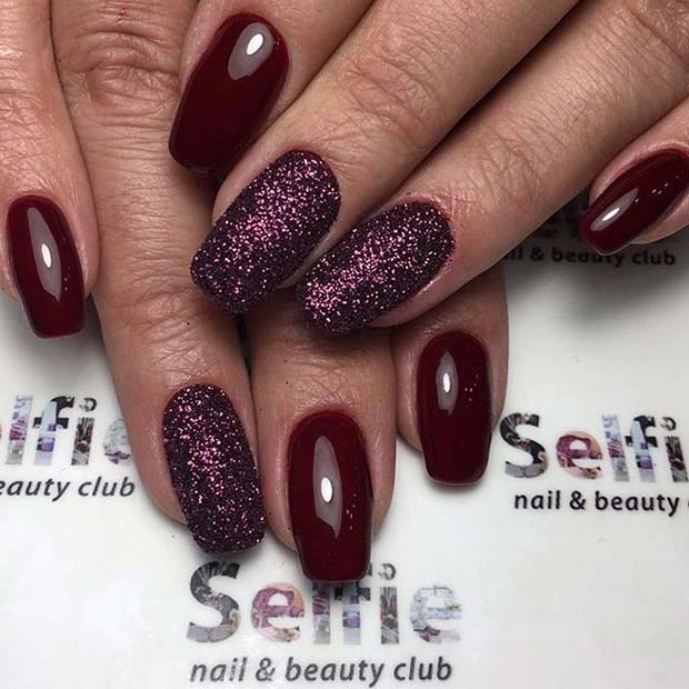 Fall Burgundy and Purple Glitter Nails