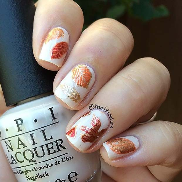 Pretty Fall Leaf Nail Design