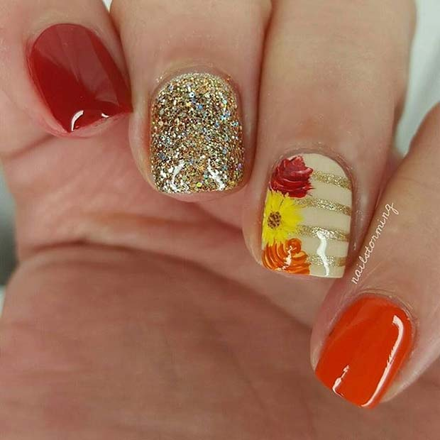 Fall Leaf and Flower Accent Nail Design