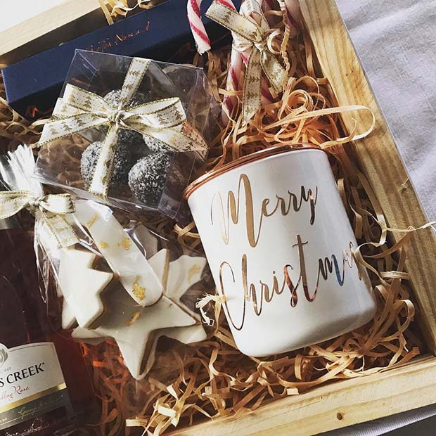 Festive Candle Wine and Treat Basket