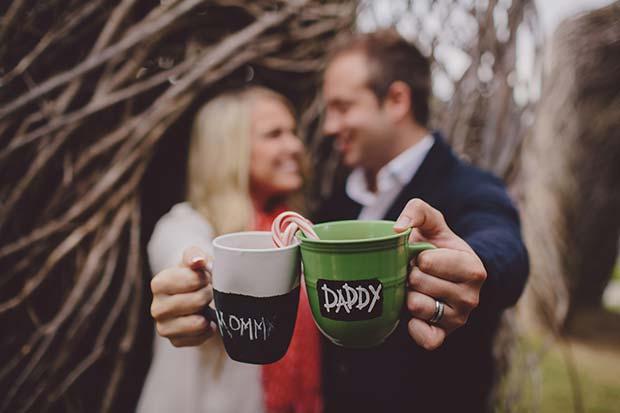 Festive Mugs Pregnancy Announcement Photo