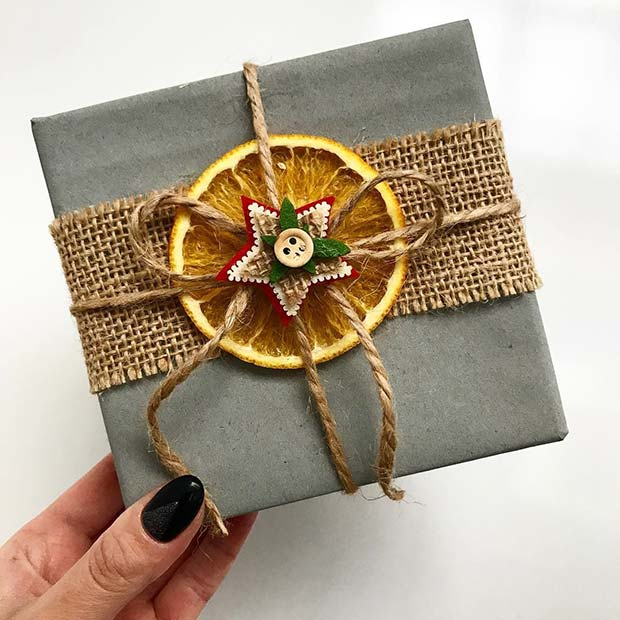 Festive Orange Gift Wrap Idea