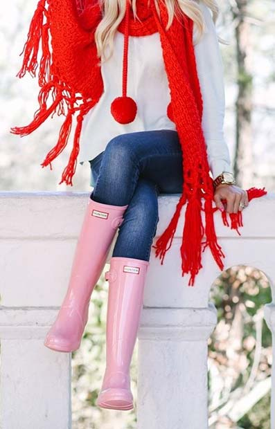 Festive Red Scarf and Wellies