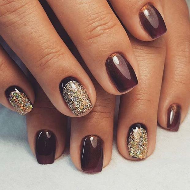 Funky Glitter Accent Nails