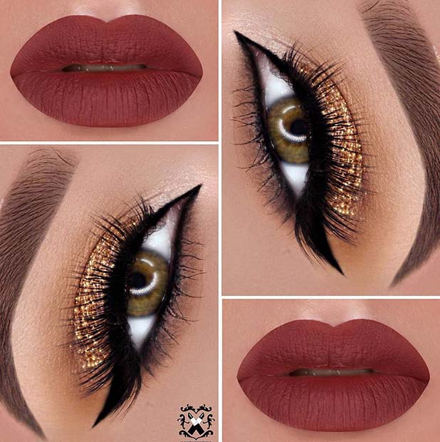 Glam Gold Glitter Eyes and Red Lips