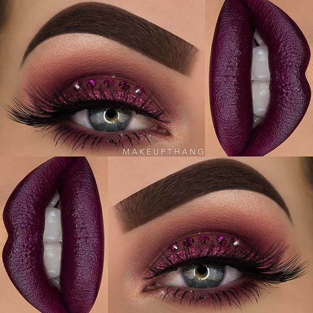 Glitter and Gems Purple Eye Makeup Look