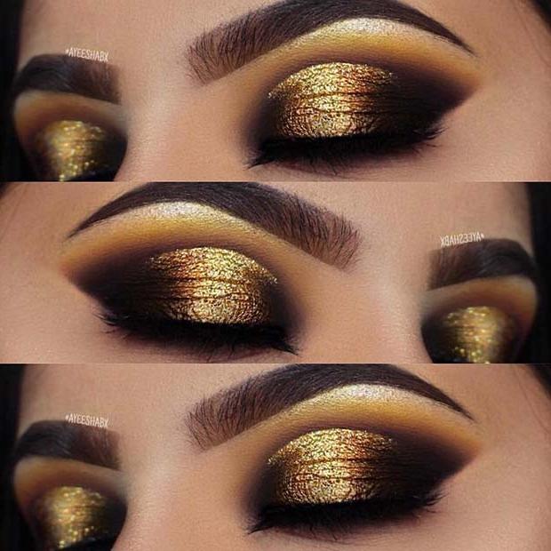 Glittering Gold Eye Makeup Look