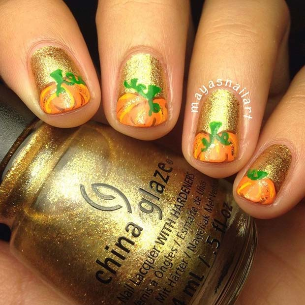 Gold Pumpkin Nail Design for Short Nails