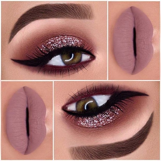 Pink Glitter Eyes and Matte Lips