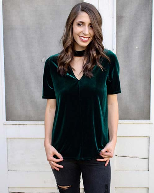 Green Velvet Choker Top