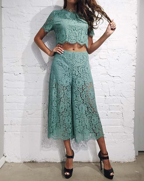 Matching Lace Top and Culottes