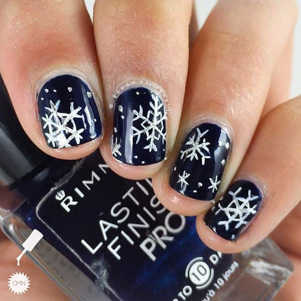 Navy Snowflake Nails