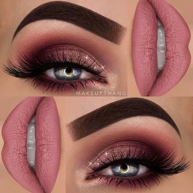 Glitter Eyes and Pink Lips