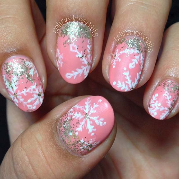 23 latest winter inspired nail art ideas page 2 of 2 stayglam pink and white snowflake nail design prinsesfo Image collections
