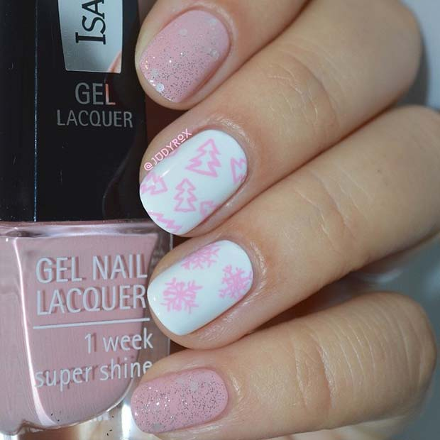 Pretty Pink and White Winter Nails