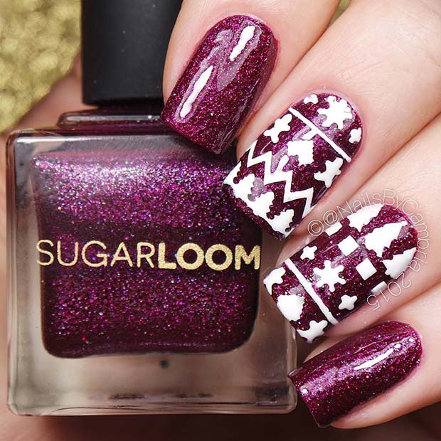 Purple Glitter and White Winter Pattern