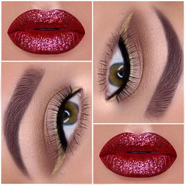 Red Glitter Lips and Gold Eyeliner