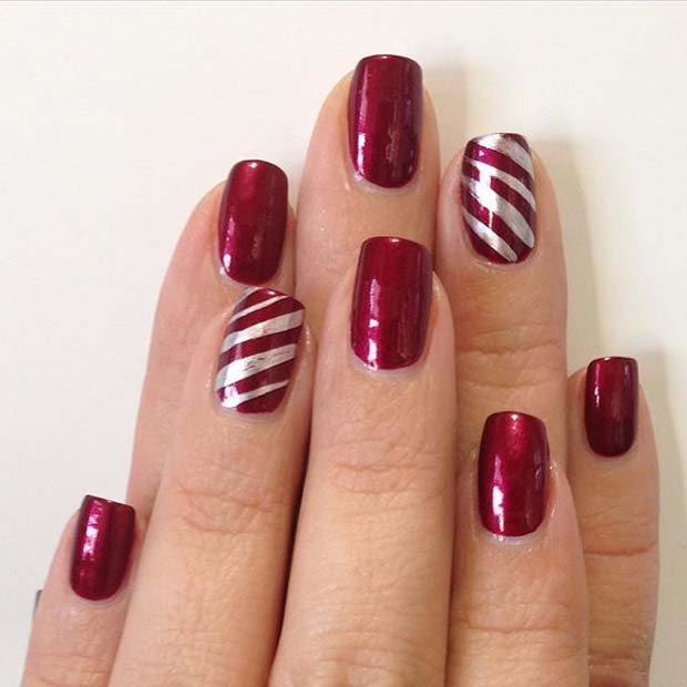 Red Nails With Candy Cane Stripe Accent Nail