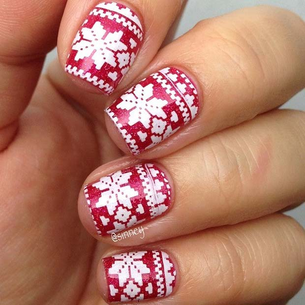 Red and White Fair Isle Pattern Nails