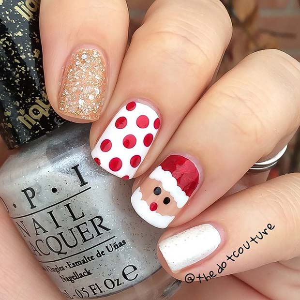 Santa Polka Dot and Glitter Nail Art