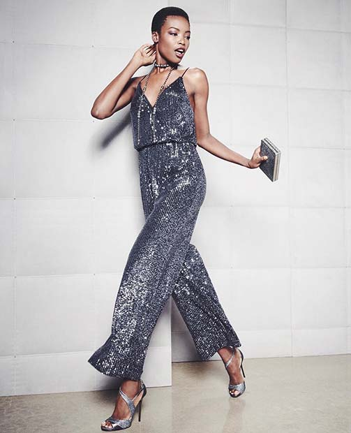 Sequin Jumpsuit NYE Outfit