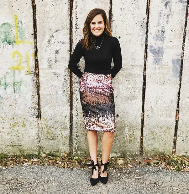 Sequin Skirt and Sweater Outfit