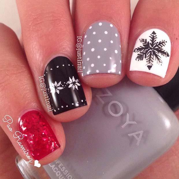 Snowflake Polka Dot Nails