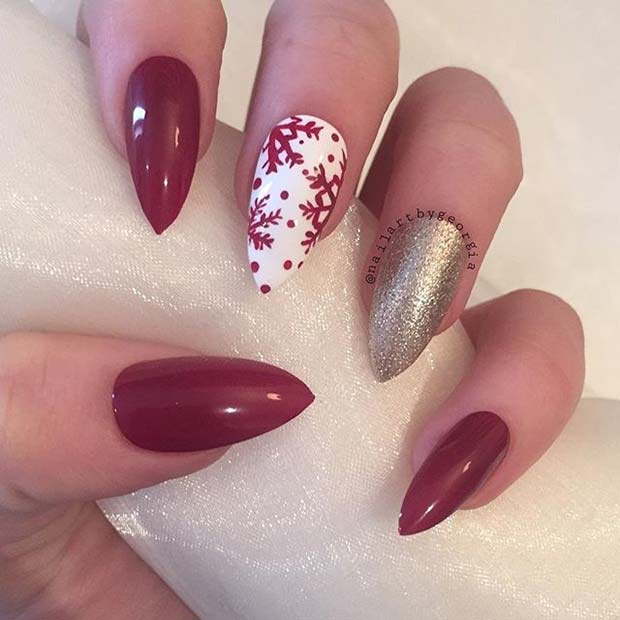 Snowflake and Glitter Stiletto Nails