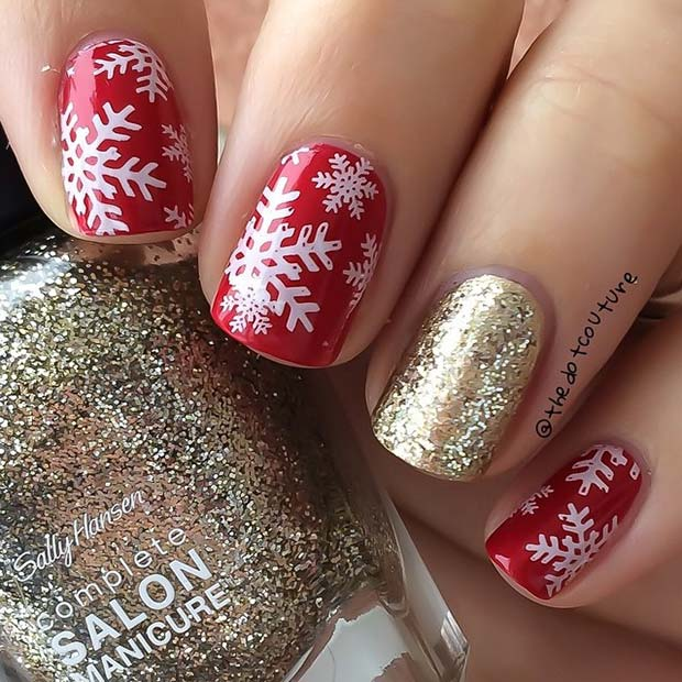 Snowflakes and Gold Glitter Nail Idea