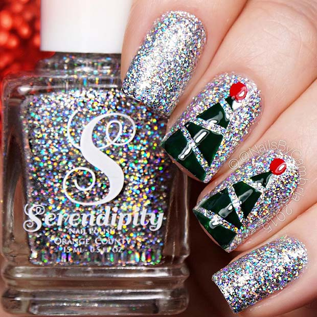 Sparkling Nails with Christmas Tree Accent Nails