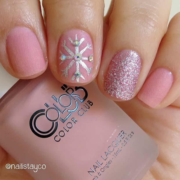 Sparkling Snowflake Nail Design