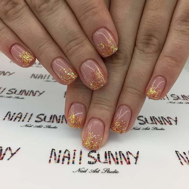 Stylish Fall Glitter Nails
