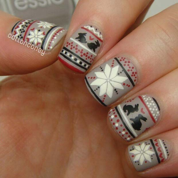 Winter Fair Isle Print Nail Design
