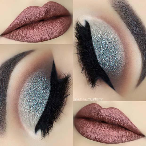 Winter Glitter Eye Makeup